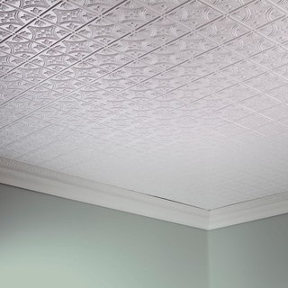 Fasade Traditional Style #1 Gloss White 2-foot x 4-foot Glue-up Ceiling Tile
