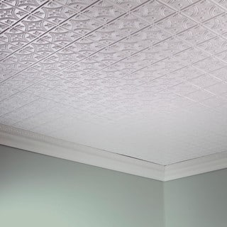 fasade traditional style 1 gloss white 2 foot x 4 foot glue - Fasade Ceiling Tiles
