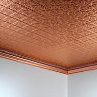 Fasade Traditional Style #1 Polished Copper 2-foot x 4-foot Glue-up Ceiling Tile