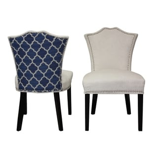 Sweetheart Two-tone Ivory Regency/ Blue Ogee Dining Chair (Set of 2)