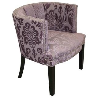 Bohemian Black Plum Fan Damask Arm Chair