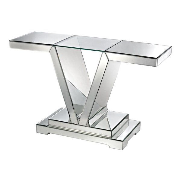 LS Dimond Home Mirrored Console Table With Clear Glass Top