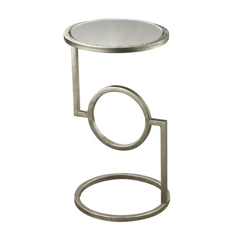 LS Dimond Home Antiqued Mirror Top Hurricane Side Table