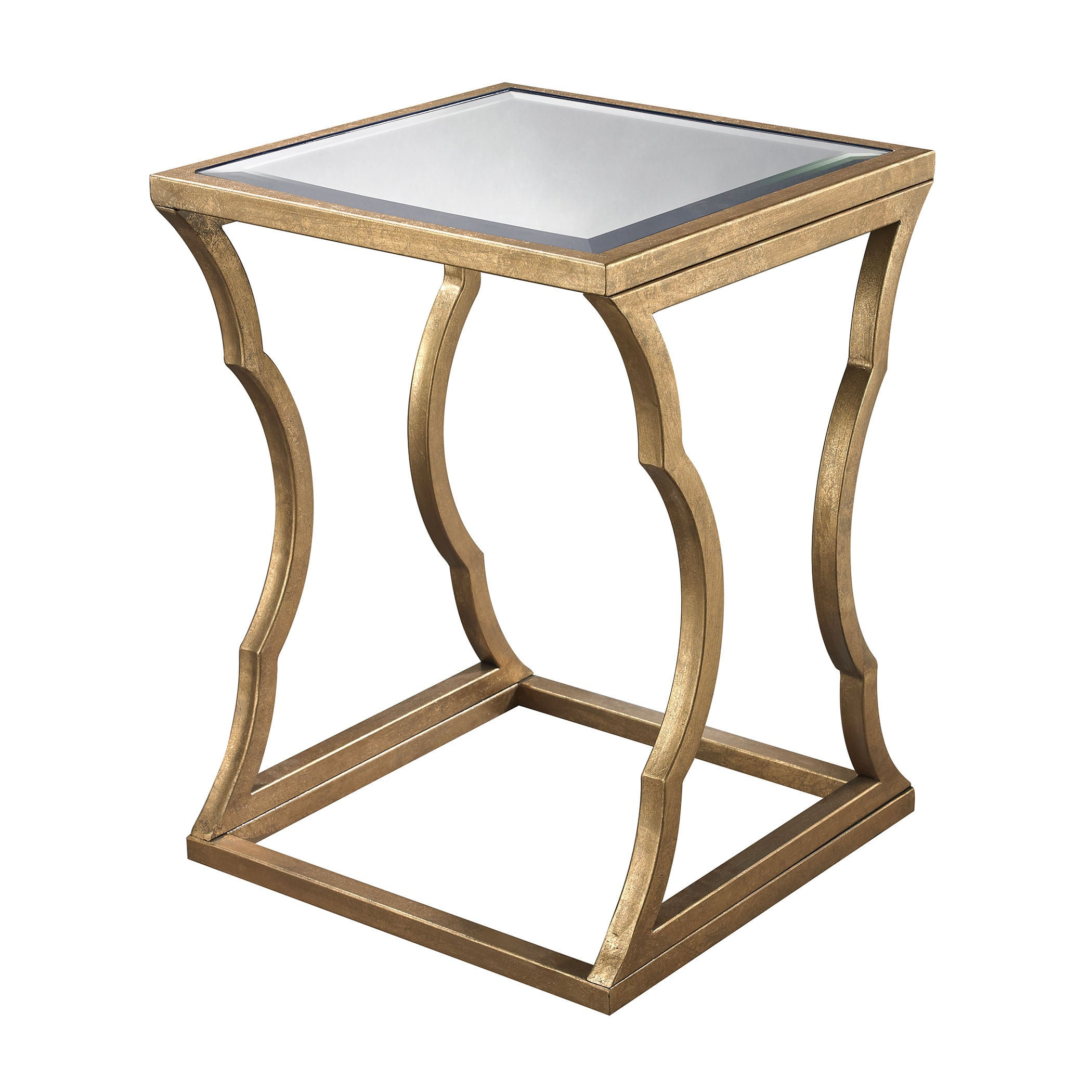 LS Dimond Home Metal Cloud Side Table (Antique Gold Leaf,...