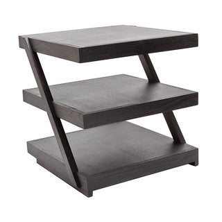 LS Dimond Home Stacked Black Teak Side Table