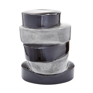 LS Dimond Home Stacked Ovals Side Table In Black and Grey