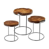 LS Dimond Home Natural Teak Stacking Tables