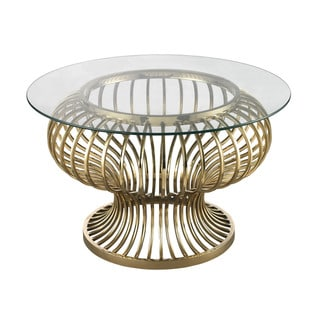 LS Dimond Home Undulating Gold Rod Coffee Table