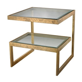LS Dimond Home Gold Leaf Key Side Table