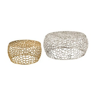 LS Dimond Home Free Form Silver Accent Tables