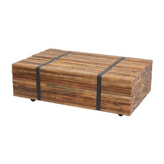 LS Dimond Home Teak Strapped Coffee Table