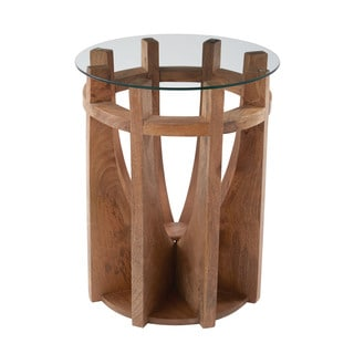 LS Dimond Home Wooden Sundial Side Table