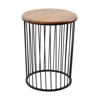 LS Dimond Home Tall Teak and Metal Carousel Table