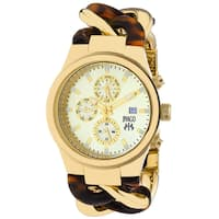 Jivago Women's JV1231 Lev Round Two-tone with Tortoise Accent Stainless Steel Bracelet Watch
