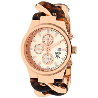 Jivago Women's JV1229 Lev Mini Round Two-tone with Tortoise Accent Stainless Steel Bracelet Watch