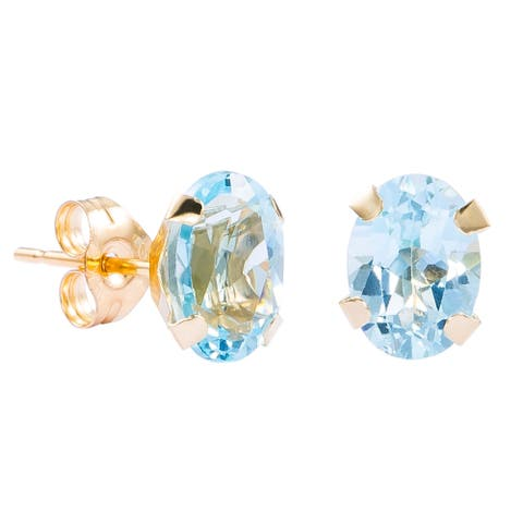 Pori 14k Yellow Gold Oval Genuine Blue Topaz Stud Earrings