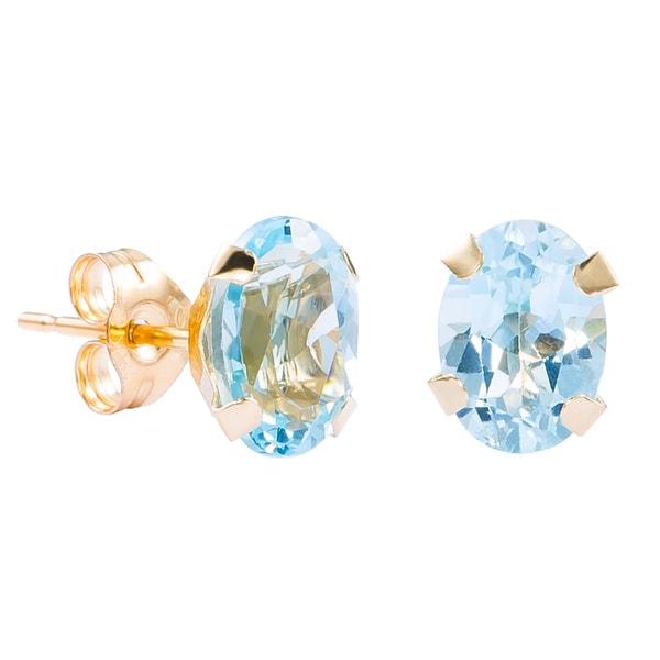Pori 14k Yellow Gold Oval Cut Genuine Blue Topaz Stud Earrings