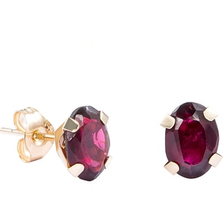 Pori 14k Yellow Gold Oval-cut Genuine Garnet Stud Earrings