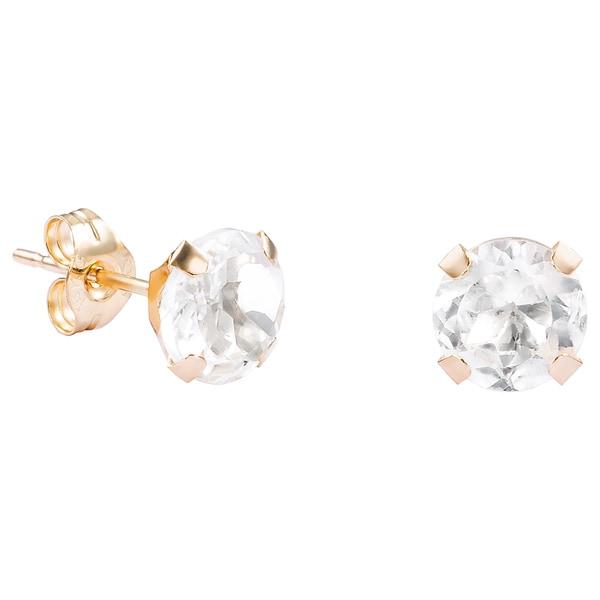 Pori 14k Yellow Gold Oval Cut Genuine White Topaz Stud Earrings