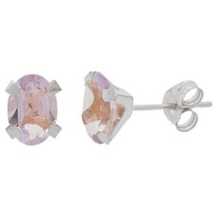 Pori 14k White Gold Oval-cut Genuine Amethyst Stud Earrings