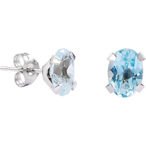 Pori 14k White Gold Oval-cut Genuine Blue Topaz Stud Earrings