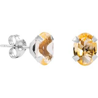Pori 14k White Gold Oval-cut Genuine Citrine Stud Earrings