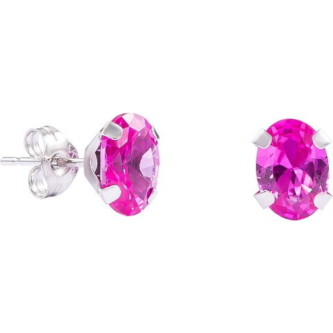 Pori 14k White Gold Oval-cut Genuine Pink Sapphire Stud Earrings