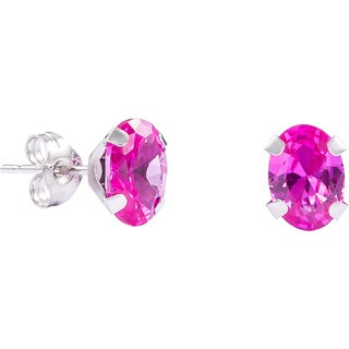 Pori White Gold Oval-cut Genuine Pink Sapphire Stud Earrings