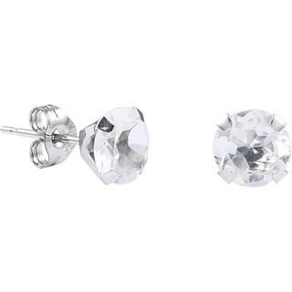 Pori 14k White Gold Oval-cut Genuine White Topaz Stud Earrings