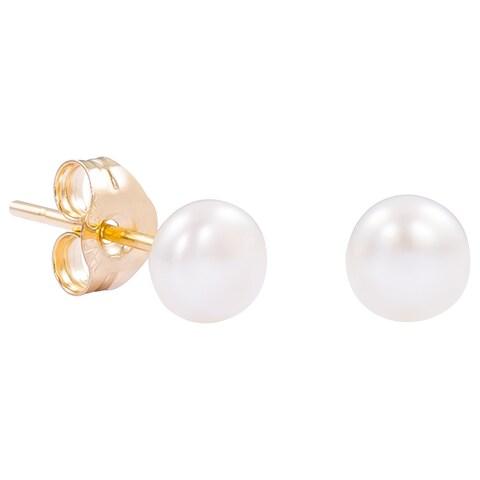 Pori 14k Yellow Gold White Freshwater Pearl Stud Earrings (4-5mm)