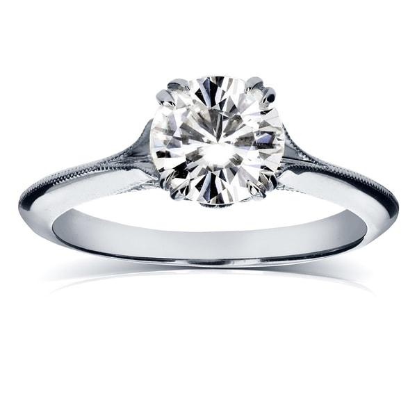 Annello by Kobelli 14k White Gold Moissanite (HI) and Diamond Engagement Ring (G-H, I1-I2)