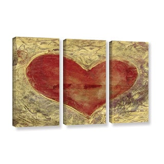 ArtWall Elena Ray ' Red Heart Of Gold 3 Piece ' Gallery-Wrapped Canvas Set
