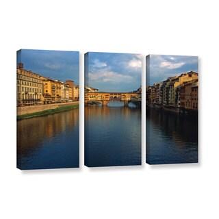 ArtWall Kathy Yates 'Ponte Vecchio Sunset' 3 Piece Gallery-wrapped Canvas Set