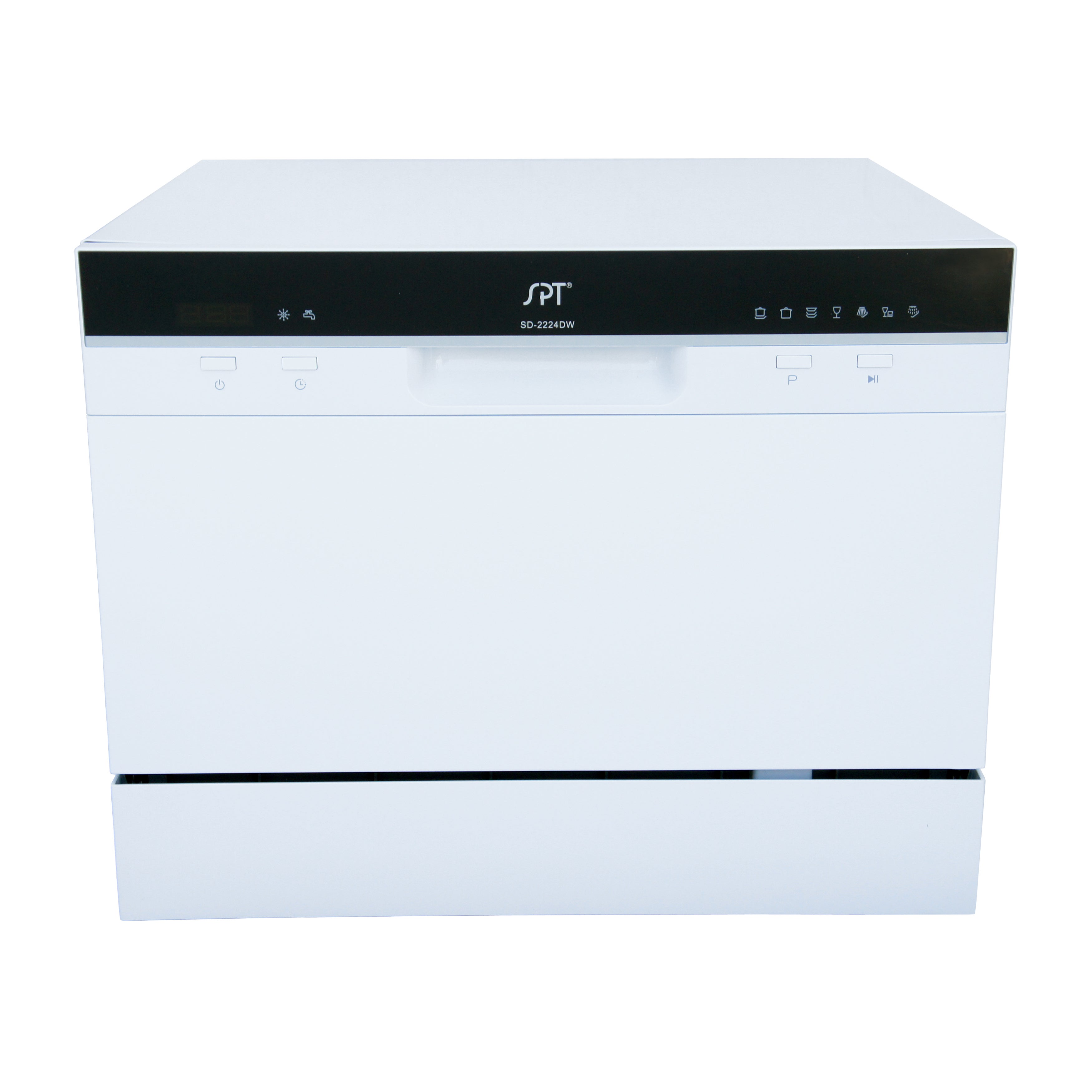 SPT 6 Place Setting White Countertop Dishwasher with Dela...