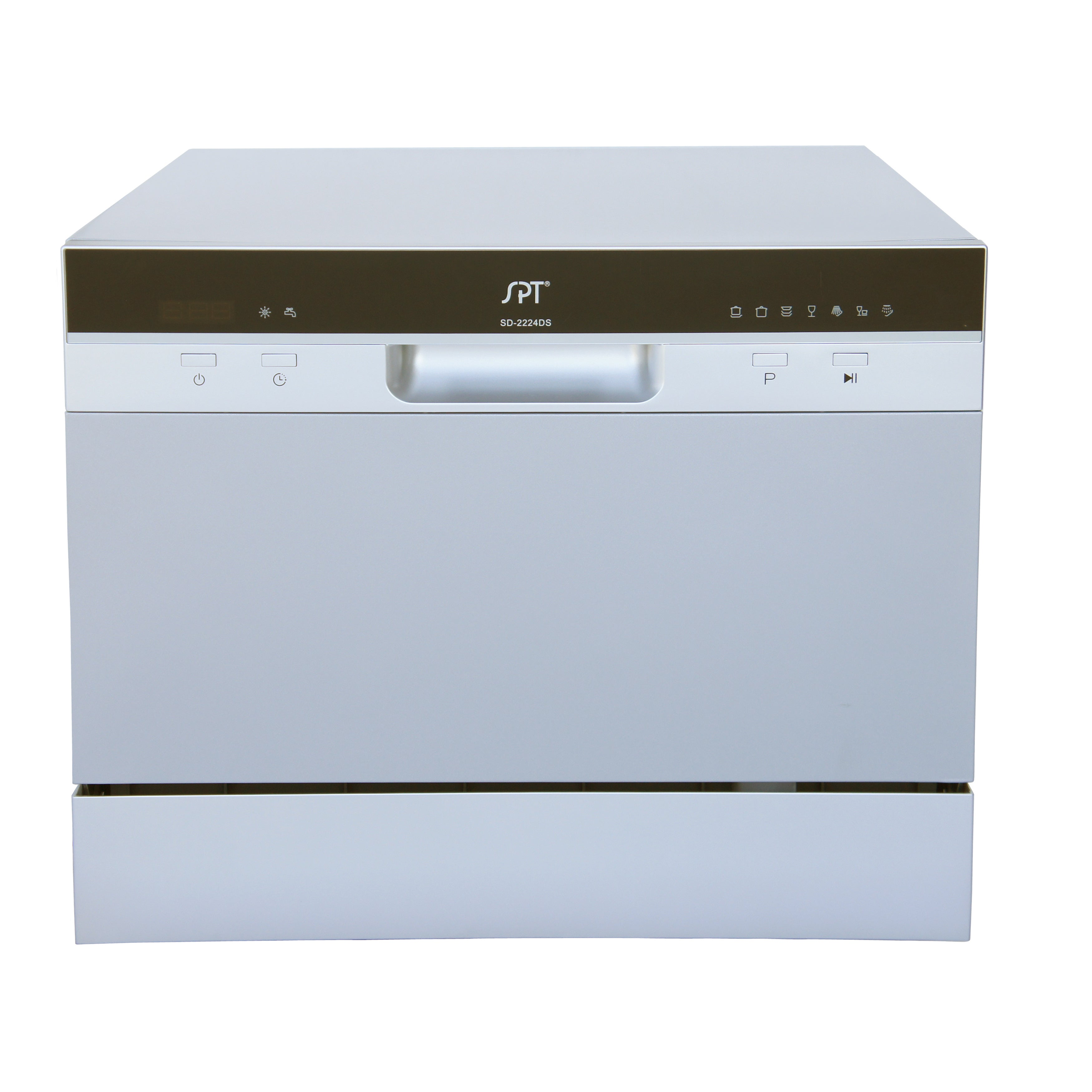 SPT 6 Place Setting Silver Countertop Dishwasher with Del...