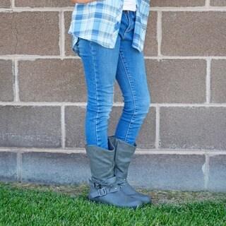Journee Kids' 'C45' Studded Buckle Boots