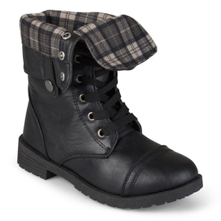 Journee Kid's 'Duke' Fold-over Lace-up Combat Boots