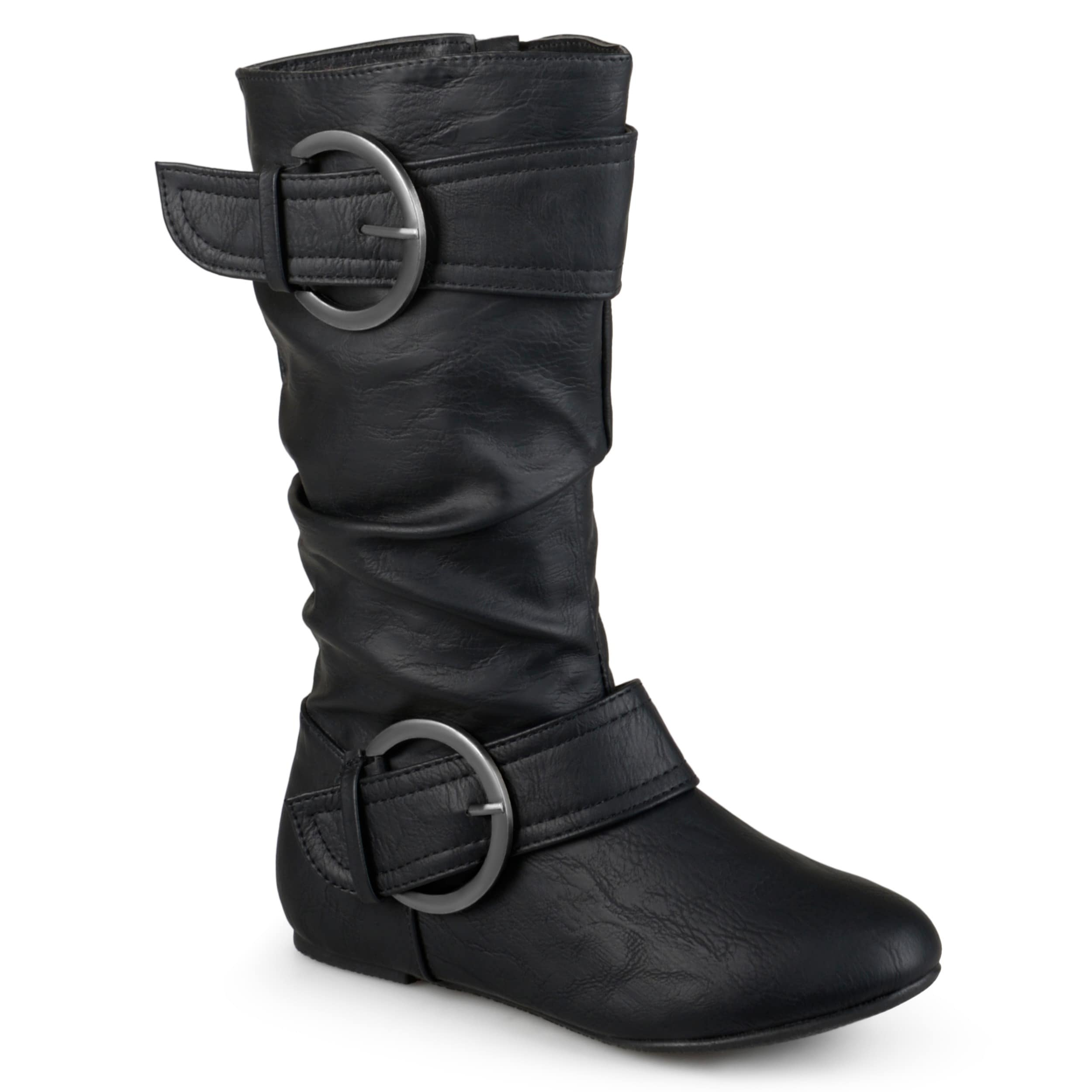 GIRLS FAUX LEATHER MID CALF LOW HEEL SLOUCH BOOTS BLACK SIZE 11-4