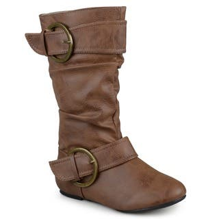 Journee Kid's 'Lassy' Buckle Faux Leather Boots|https://ak1.ostkcdn.com/images/products/10337950/P17447691.jpg?impolicy=medium