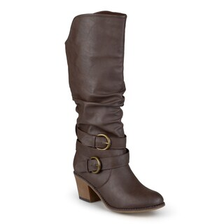 Journee Collection Women's 'Late' Buckle Slouch High Heel Boots (More options available)