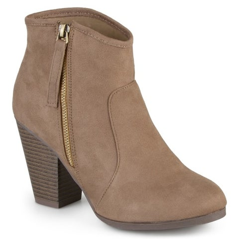 Journee Collection Women's Link High Heel Faux Suede Ankle Boots
