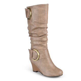 Journee Collection Women's 'Meme' Wide Calf Tall Faux Leather Buckle Boots