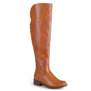 Journee Collection Women's 'Plica' Croc Print Knee-high Boots