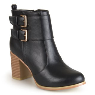 Journee Collection Women's 'Port' Heeled Buckle Bootie