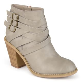 Journee Collection Women's 'Strap' Multi Strap Ankle Boots|https://ak1.ostkcdn.com/images/products/10337975/P17447712.jpg?impolicy=medium
