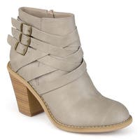 Journee Collection Women's Strap Fabric/Faux-leather Multi-strap Ankle Boots