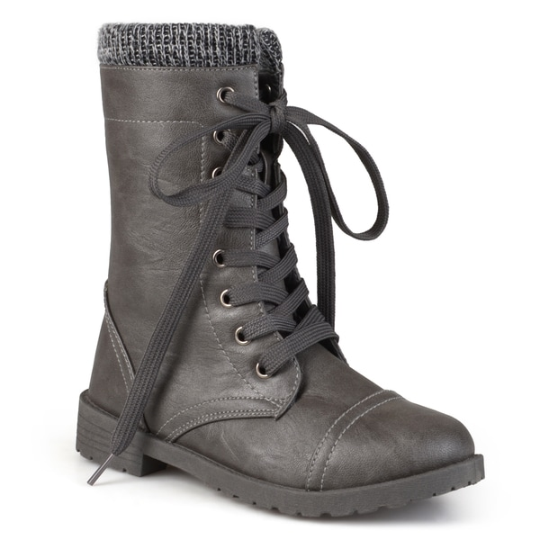 Journee Kid's 'Trim' Ribbed Lace-up Combat Boots