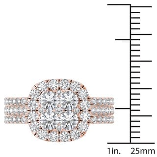 De Couer 14k Gold 2ct TDW Diamond Halo Engagement Ring Set with Two Bands (H-I, I2)