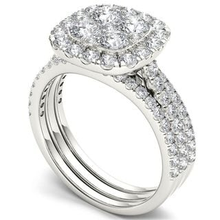 De Couer 14k White Gold 2ct TDW Diamond Halo Engagement Ring Set with Two Bands (H-I, I2)