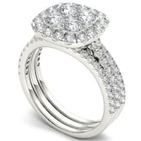 De Couer 14k Gold 2ct TDW Diamond Halo Engagement Ring Set with Two Bands